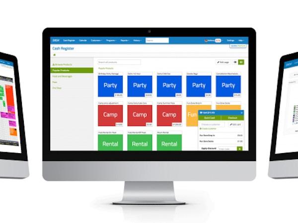 3 computer screens showing a management platform