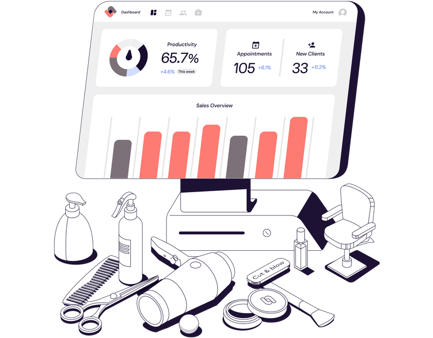 Till computer with sales dashboard with Productivity, Appointments and New Clients listed. In the foreground are a variety of tools used in salons including a hardryer, sprays, scissors and a salon chair
